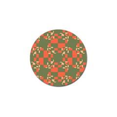 Green Orange Shapes Golf Ball Marker by LalyLauraFLM