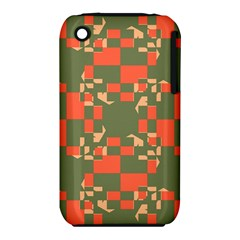 Green Orange Shapes Apple Iphone 3g/3gs Hardshell Case (pc+silicone) by LalyLauraFLM