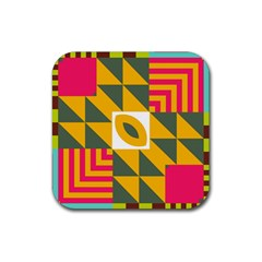 Shapes In A Mirror Rubber Square Coaster (4 Pack) by LalyLauraFLM