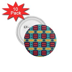 Blue Red And Yellow Shapes Pattern 1 75  Button (10 Pack)  by LalyLauraFLM