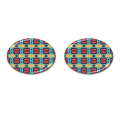 Blue Red And Yellow Shapes Pattern Cufflinks (oval) by LalyLauraFLM