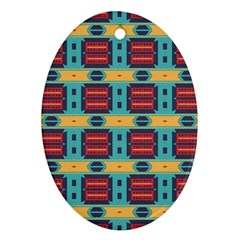 Blue Red And Yellow Shapes Pattern Oval Ornament (two Sides) by LalyLauraFLM