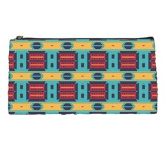 Blue Red And Yellow Shapes Pattern Pencil Case by LalyLauraFLM