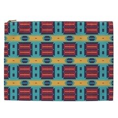 Blue Red And Yellow Shapes Pattern Cosmetic Bag (xxl) by LalyLauraFLM