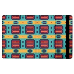 Blue Red And Yellow Shapes Pattern Apple Ipad 2 Flip Case by LalyLauraFLM