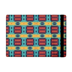 Blue Red And Yellow Shapes Pattern Apple Ipad Mini Flip Case by LalyLauraFLM