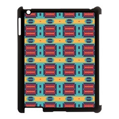 Blue Red And Yellow Shapes Pattern Apple Ipad 3/4 Case (black) by LalyLauraFLM