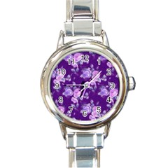 Vintage Roses Purple Round Italian Charm Watches by MoreColorsinLife