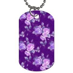 Vintage Roses Purple Dog Tag (two Sides) by MoreColorsinLife