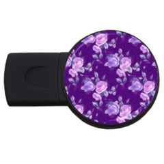Vintage Roses Purple Usb Flash Drive Round (4 Gb)  by MoreColorsinLife