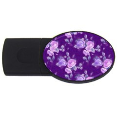 Vintage Roses Purple Usb Flash Drive Oval (4 Gb)  by MoreColorsinLife