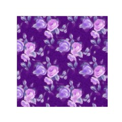 Vintage Roses Purple Small Satin Scarf (square)  by MoreColorsinLife