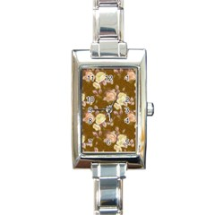 Vintage Roses Golden Rectangle Italian Charm Watches by MoreColorsinLife
