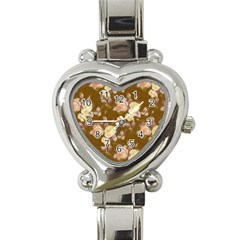Vintage Roses Golden Heart Italian Charm Watch by MoreColorsinLife