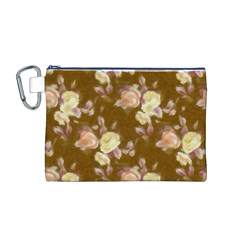 Vintage Roses Golden Canvas Cosmetic Bag (m) by MoreColorsinLife