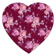 Vintage Roses Jigsaw Puzzle (Heart) by MoreColorsinLife