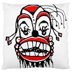 Dark Clown Drawing Large Flano Cushion Cases (two Sides)  by dflcprints
