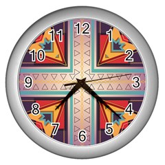 Cross And Other Shapes Wall Clock (silver) by LalyLauraFLM
