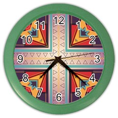 Cross And Other Shapes Color Wall Clock by LalyLauraFLM