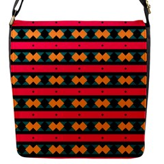 Rhombus And Stripes Pattern Flap Closure Messenger Bag (s) by LalyLauraFLM