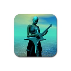 Sad Guitar Rubber Square Coaster (4 Pack)  by icarusismartdesigns