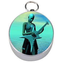 Sad Guitar Silver Compasses by icarusismartdesigns