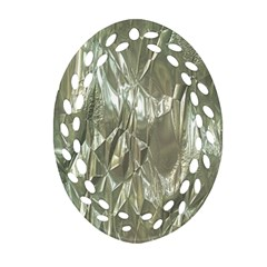 Crumpled Foil Oval Filigree Ornament (2 Side)  by MoreColorsinLife
