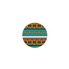 Tribal Design In Retro Colors 1  Mini Button by LalyLauraFLM