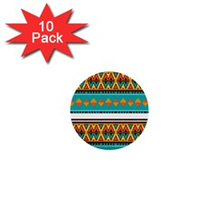 Tribal Design In Retro Colors 1  Mini Button (10 Pack)  by LalyLauraFLM