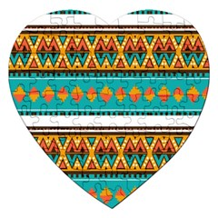 Tribal Design In Retro Colors Jigsaw Puzzle (heart) by LalyLauraFLM