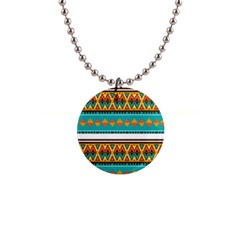 Tribal Design In Retro Colors 1  Button Necklace by LalyLauraFLM