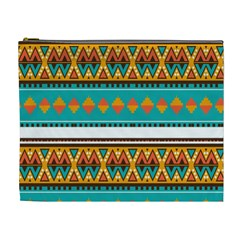 Tribal Design In Retro Colors Cosmetic Bag (xl) by LalyLauraFLM
