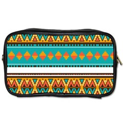 Tribal Design In Retro Colors Toiletries Bag (one Side) by LalyLauraFLM