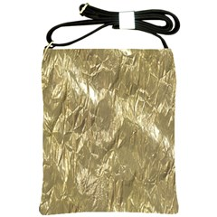 Crumpled Foil Golden Shoulder Sling Bags