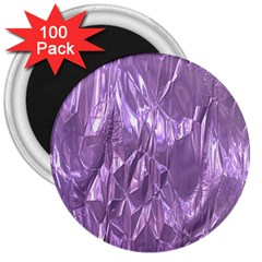 Crumpled Foil Lilac 3  Magnets (100 Pack) by MoreColorsinLife