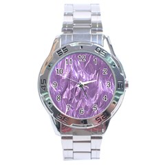 Crumpled Foil Lilac Stainless Steel Men s Watch by MoreColorsinLife