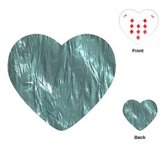 Crumpled Foil Teal Playing Cards (heart)  by MoreColorsinLife