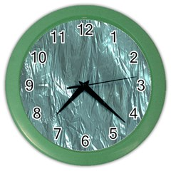 Crumpled Foil Teal Color Wall Clocks by MoreColorsinLife