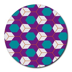 Cubes In Honeycomb Pattern Round Mousepad by LalyLauraFLM