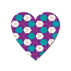 Cubes In Honeycomb Pattern Magnet (heart) by LalyLauraFLM
