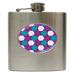 Cubes In Honeycomb Pattern Hip Flask (6 Oz) by LalyLauraFLM