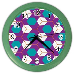 Cubes In Honeycomb Pattern Color Wall Clock by LalyLauraFLM