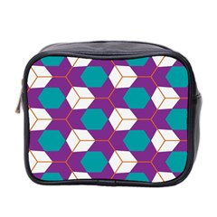 Cubes In Honeycomb Pattern Mini Toiletries Bag (two Sides) by LalyLauraFLM