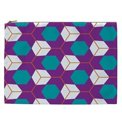 Cubes In Honeycomb Pattern Cosmetic Bag (xxl) by LalyLauraFLM
