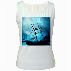 Awesome Ship Wreck With Dolphin And Light Effects Women s Tank Tops by FantasyWorld7