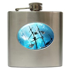 Awesome Ship Wreck With Dolphin And Light Effects Hip Flask (6 Oz) by FantasyWorld7