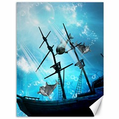 Awesome Ship Wreck With Dolphin And Light Effects Canvas 36  x 48   by FantasyWorld7