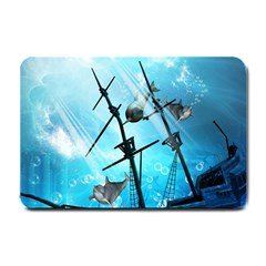 Awesome Ship Wreck With Dolphin And Light Effects Small Doormat  by FantasyWorld7