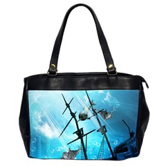 Awesome Ship Wreck With Dolphin And Light Effects Office Handbags (2 Sides)  by FantasyWorld7