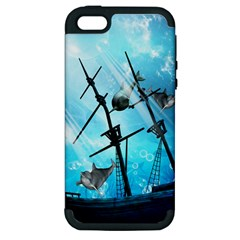 Awesome Ship Wreck With Dolphin And Light Effects Apple Iphone 5 Hardshell Case (pc+silicone) by FantasyWorld7